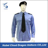 China Breathable long sleeve blue security guard shirts mens formal dress shirt on sale