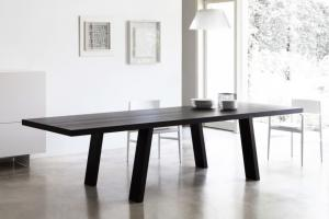 China Solid Wooden Minimo Modern Dining Room Tables Rectangle Black Colors on sale