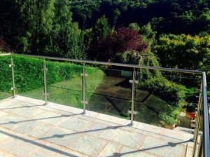 Terrace Glass Railing/ Glass Balustrade with Stainless Steel Post