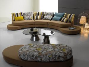 Quality Italian Style Round Modern Fabric Sofas , Round corner sofa supply , Half moon sofa for sale