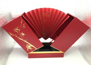 China Fan Shaped Open PU Leather Box / Magnetic 3 Wine Bottles Red Paper Cardboard Box on sale