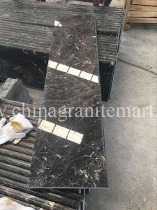 China China Dark Emperador  Marble stair step stone stair Dark Brown marble stairs Brown marble risers on sale