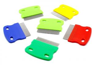 China Multicolor Double Hole Pet Plastic Products , Short Stainless Steel Needle Pet Flea Comb on sale