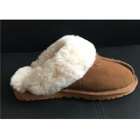 China Women's Sheepskin Slippers Shoes Luxurious Sheepskin Closed Toe Slippers on sale