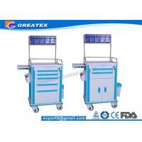 China Hospital Emergency Crash Cart ABS Emergency Anesthesia Trolley Cart on sale