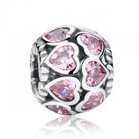 China Hollow Pink Rhinestone Heart 925 Sterling Silver Beads And Charms For Bracelets on sale