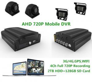 China 2TB HDD 3G/4G WIFI GPS G-sensor Analog High Definition DVR 4CH 720P Realtime MDVR on sale