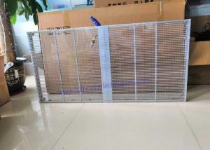 China Media Building Transparent Led Curtain Display P10.4 With Brushed Aluminum Cabinet on sale