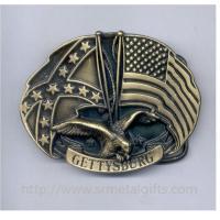 Vintage antique brass oval American flag and eagle emblem belt buckle for 40mm men belt,