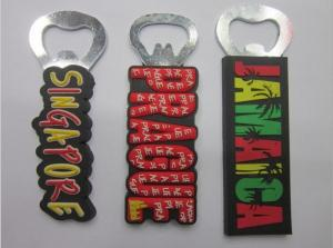 China Customized Singapore Prague Country Name Letters Rubber PVC Fridge Magnet Bottle Opener For Travel Gift on sale