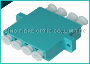 China Aqua Quad LC to LC Fiber Optic Adapter 10G OM3 Multimode 50 / 125um on sale