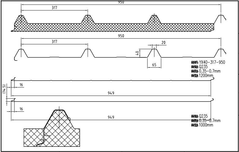 Cad Drawing Roof Sandwich Panels : Mm steel sheet pu insulated sandwich panel