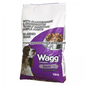 China Woven Polypropylene Animal Feed Bags , Reusable Eco-friendly Dog Feed Packaging Bag on sale