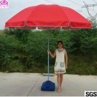 China Red / Blue Waterproof Parasol Umbrella With Powder Coated Rib on sale