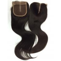 Top Quality Hot Unprocessed Natural Color Knot Bleached Brazilian Hair  Middle Part 4*4inch Lace Closure Silky Straight