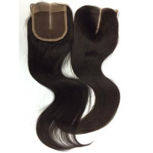 China Top Quality Hot Unprocessed Natural Color Knot Bleached Brazilian Hair  Middle Part 4*4inch Lace Closure Silky Straight on sale