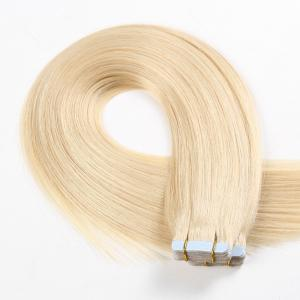 China #60 Lightest Blonde Real Human Hair Tape In Extensions Straight Texture on sale