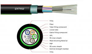 China 12 Core Single Mode Fiber Optic Cable , Armoured Outdoor Cable GYFTY53 OEM on sale