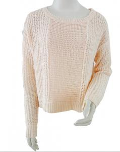 China Light pink Ladies Pullover Sweaters tinsel tape yarns cropped jumper on sale