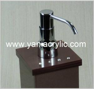 China Brown Rectangle Acrylic Soap Dispenser , Liquid Soap Dispenser Bottle on sale