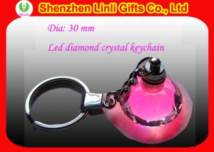 China Offer diamond shaped logo flashing Newest Led crystal keychain for promotion  on sale