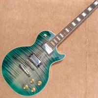 New style high-quality custom LP electric guitar, Green&blue Flame Maple Top Rosewood fingerboard electric guitar, free