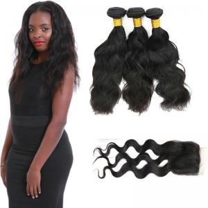 China 20 Inch Malaysian Curly Hair Bundles With Closure Natural Wave CE Certification on sale