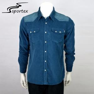 China Mens Flannel Casual Dress Shirts , Dark Blue Button Down Shirt Plain Dyed Technics on sale