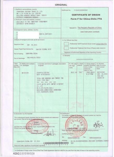 China Chileform Fcertificate Of Origin 1 Working Day For Sale