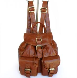China Wholesale Price Vintage Tan Leather Girl's Style Backpack Shoulder Bag #3023B on sale