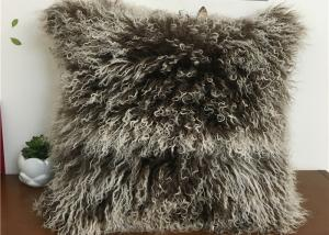 China Tibetan Lambswool Pillow Cover Natural Long Haired Mongolian Lamb Fur Pillow on sale