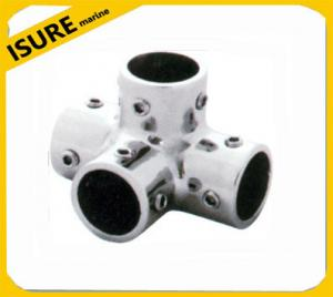 China Boat Hand Rail Fitting-90 Degree 4 Way Corner Elbow -Marine Stainless Steel on sale