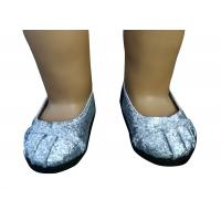 Silver Cowl Head Doll Shoes For 18 inch American Girl Doll , Doll Round Toe Shoes