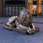 Large Bronze Lion Statue Golden Garden Life Size Animal Metal Sculptures