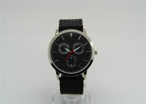China Black Mens Silicone Watches Quartz Watch fake 3-eyes 1ATM Waterproof supplier
