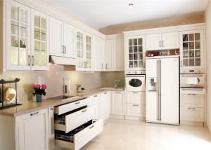 China Solid Wood Contemporary Kitchen Cabinets Paint Finish Luxury Furniture on sale