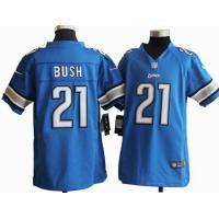 Youth Nike NFL Detroit Lions 21 Bush blue stitched jersey