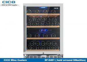 China Compressor Wine Cooler 150L Volume Seamless Steel Door Free Standing Dual Temp on sale