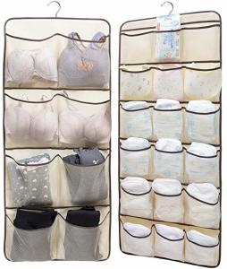 China Dual Sided Hanging Underwear Storage Bag With 26 Mesh Pockets & Rotating Metal Hanger on sale