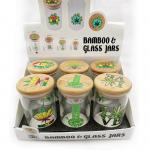 108*65mm Glass Dab Jars Concentrate Storage Containers With Bamboo Lid