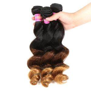 China Peruvian Hair Loose Wave 3 Tone Ombre Hair Weave , 1B/4/27 Ombre Blonde Hair Extensions on sale
