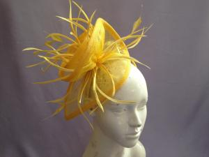Quality Brown Ivory Navy Yellow Las Fascinator Hats With Feathers T For