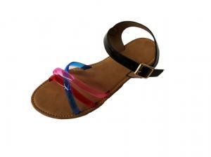 China Women TPR Outsole PVC Cross Strap Flat Summer Sandal on sale