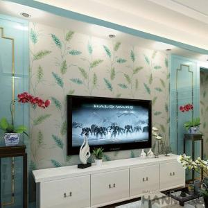 China Natural Green Plants Pattern Suede Wallpaper Fashion Wallcovering Distributors on sale