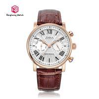 Cow Genuine Leather Strap Wrist Watches Round Case Shape / Quartz Wristwatches