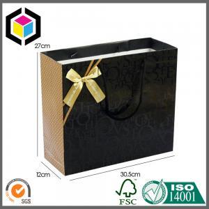 China Cotton Handle Matte Black Color Shoes Paper Carrier Bag; Luxury Gift Paper Bag on sale