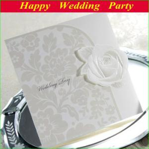 China Rose Wedding Invitations Card Elegant Embossed White Tri-fold W/free envelop and seal and free shipping on sale