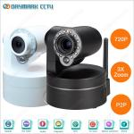 Home Indoor 3X Optical Zoom Lens Wireless IP PTZ Camera with IR-Cut