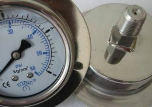 China 0 - 10 Bar Oil Filled Pressure Gauge , Industrial Back Mount Pressure Gauge on sale