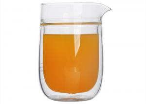 China 290ML FDA Heat Resistant Double Wall Borosilicate Glass For Juice With Spout on sale